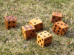 6 Large Yard Dice  Hand Crafted  Yard Games with by FibersOfHome, $55.00