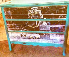 Western vintage dresser redo turquoise
