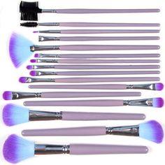 Kingmys 16 Pcs Professional Makeup Cosmetic Brush Set Purple and Aqua