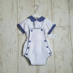 Two Piece Navy and White Dotted Romper #romper #babyboy #navy #dotted Sale: £20 Size: 12m