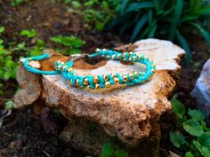 Gold plated beads in a turquoise mint bracelet, our wave bracelets