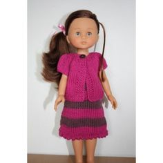 """Robe et cardigan assorti  pour poupée de 32 cm type poupée """"chéries"""" de Corolle adaptés des modèles robe Louena et cardigan Kina de la collection Kids tricots."""