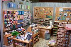 scrapbooking shop--this is insane! Look at all the little packaged scissors and punches! I just can't believe how wonderful the detail is. It must have taken hours and hours. It's just fantastic!