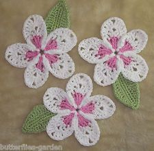 COTTON PLUMERIA FRANGIPANI #CROCHET #FLOWERS & LEAF SET CROCHET EMBELLISHMENT APPLIQUÉ #Afs 8/5/13