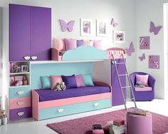 Girl's bedroom set for a comfortable and happy feeling Kids Bedroom Designs, Room Design Bedroom, Cute Bedroom Ideas, Pretty Bedroom, Room Ideas Bedroom, Home Room Design, Kids Room Design, Bedroom Decor, Bedroom Modern