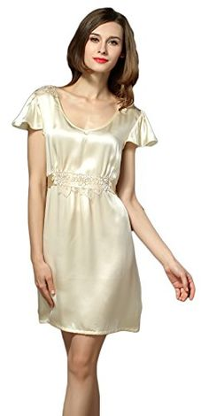 385163d6ce98 Womens Nightdresses Pure Silk Chemises Slip Embroidery Nightwear Beige M --  Click for more Special Deals #Fashion#LadiesFashion#WomenFashion#Outfits#  ...