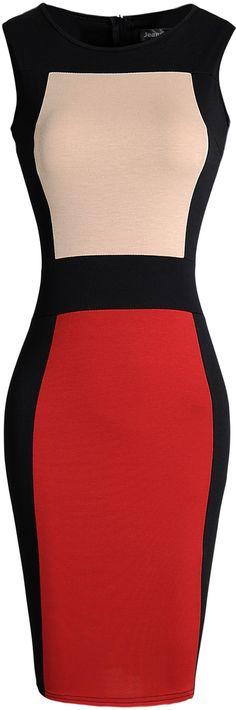 jeansian Women's Slim Stitching O-Neck Sleeveless Bodycon Dress WKD228