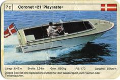 "Game Card: 7c - DK - Coronet ""21' Playmate"" (Quartett - Ships) (D - FXS - Motorjachten - Best.-Nr. 520 22) Col:D-FXS-52022.7c Yacht Boat, Boat Building, Rowing, Fishing Boats, Motor, Card Games, Old School, Classic, Ships"