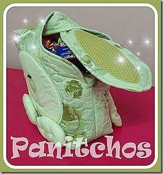 Cestinha de Páscoa em tecido: Coelho Orelhudo PANITCHOS - Ideias em tecido