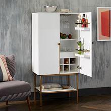 Fresh White Lacquer Bar Cabinet