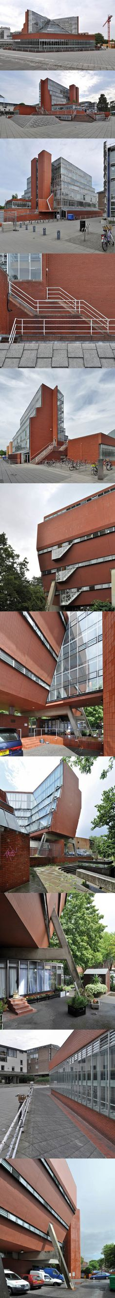 1964-1967 James Stirling - Cambridge University History Faculty Building / UK / brick glass / education