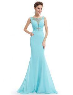 Women's Elegant Baby Blue Long Evening Dress