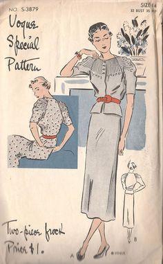 Glorious VTG 1930's Vogue Special Frock~Dress Pattern~2-Pc~Raglan Sleeves~Tucks