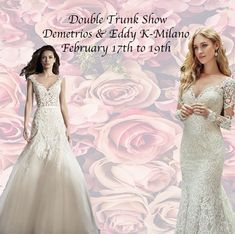 Please join us for our special 3-day double Trunk Show this President's Day Weekend Featuring Demetrios & Eddy K-Milano!