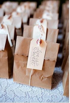 Kraft bag wedding favors.