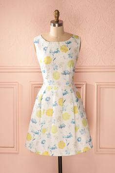 Alecia - White, yellow and blue flower print dress