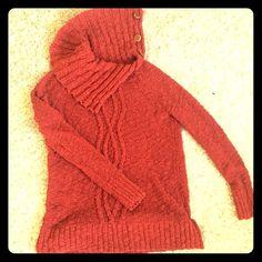 """Anthropologie sweater size small Gorgeous dark red Anthropolgies  moth sweater size small. Big button neck for """"turtleneck"""" . 94% cotton 6% nylon . EUC Anthropologie Sweaters Cowl & Turtlenecks"""