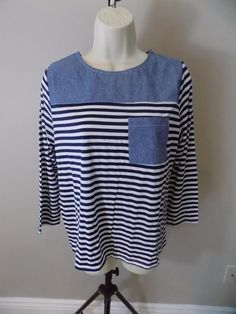 CLU TOO Navy White Striped Pocket 3/4 Sleeve T Shirt XS, S , M NEW #CluToo #BasicTee