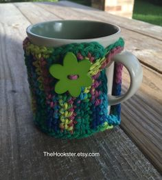 Handmade Crochet Coffee Mug Cozy in Variegated Tropical Colors - Eco Friendly - Coffee Cozy - Coffee Accessories - Tea Cozy - Coffee Sleeve by TheHookster on Etsy