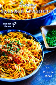Creamy Sausage Spaghetti Pasta - Quick and easy spaghetti recipe made with delicious spicy sausage! The creamy tomato-based sauce gets its rich flavor from hot crumbled sausage, green chiles, and your favorite pasta sauce. Spice factor completely adjustable. This 30 MINUTE MEAL is sure to be your new favorite way to make spaghetti! #SausageSpaghetti #Spaghetti #Pasta #CreamySpaghetti #30MinuteMeal Chili Spaghetti, Creamy Spaghetti, Sausage Spaghetti, Spaghetti Recipes, Spaghetti Noodles, Easy Meal Plans, Easy Meals, Quick Easy Dinner, Spicy Sausage