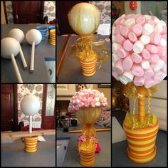 Love a candy Buffet Display so easy jars, a vase, and beautiful glass bowls and your done. Or even placed on your dessert buffet. Candy Topiary, Candy Trees, Sweet Trees, Candy Crafts, Chocolate Bouquet, Edible Arrangements, Candy Bouquet, Chocolate Gifts, Party Treats