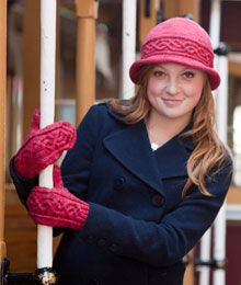 Litchfield by Elizabeth Doherty, A cabled cloche and mittens make ideal travel companions.  $6.00 US DK