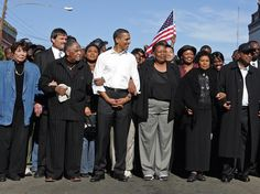 This is a photo of President Obama in 2007 when he was campaigning for the Presidency. Here, he was in Selma, Alabama re-creating a voting rights march that was violently repressed by state troopers in 1965. And now, he's expected to return to that very spot to commemorate the 50th anniversary of that horrible day.
