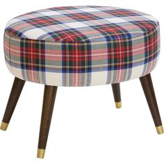 Dot & Bo Tartan Oval Ottoman ($239) ❤ liked on Polyvore featuring home, furniture, ottomans, colored furniture, upholstery furniture, upholstered footstool, upholstered ottoman et fabric ottoman