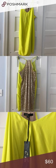 C. luce vibrant yellow sequined dress Bright lemon yellow dress, with gold sequin detail on the back. NWT. Never worn! Adjustable spaghetti straps. Fully lined. C. luce Dresses