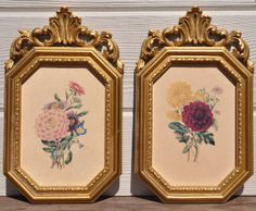 Vintage Lithograph Prints Pair Syroco Frames by FabsAndFaves, $30.00
