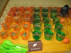 great dinosaur party ideas. Love the gummy dinos in the jello bowl. Also the miniature dinosaur dig would go perfect in nanad sandbox. Lots of great ideas.