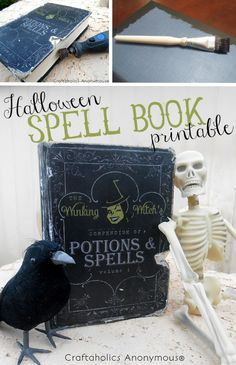 Adorable Halloween Spell Book Printable. The winking witch on it is super cute! Put the printable on a thrifted book for easy Halloween decor.