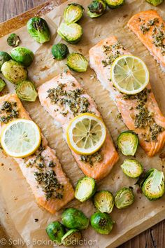 Simple Lemon Herb Salmon dinner for 330 calories! Ready in 30 minutes!