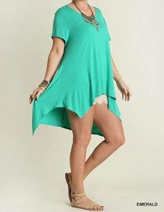 Emerald short sleeve tunic woman and plus size – Embellished Cowgirl Boutique