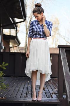 flannel/gingam shirt with a flowy skirt