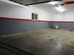 Grey And White Garage Walls Paint With Red Stripe In Center