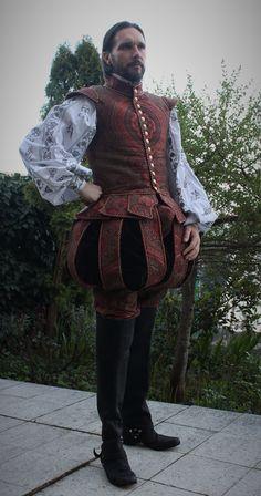 England, 1st half of 16th century, tudor renaissance, brocade from Italy, velvet, shirt with black work hand embroidery, leather waistcoat