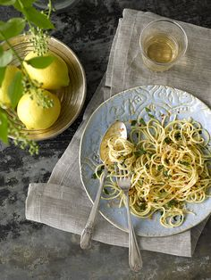 Thin Spaghetti prepared with lemon juice, olive oil, garlic, red ...
