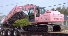 Top Grade Excavating in Farley, Iowa painted their 160C LC excavator pink to show their support for an employee's wife who was battling cancer #breastcancer