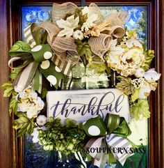 Thankful fall/thanksgiving wreath with creams/greens www.facebook.com/groups/southernsasswreaths