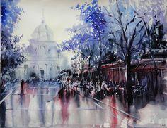 """La Sorbonne"" - Paris Watercolor painting by Nicolas Jolly"