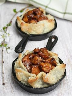 Rustic Apple Tart. Great idea using the mini cast iron skillets for individual servings.