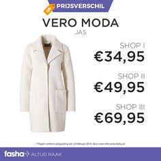Dagelijks vindt Fasha grote prijsverschillen tussen webshops die hetzelfde artikel of dezelfde artikelen aanbieden voor verschillende prijzen. De prijsvergelijker van Fasha ontdekt deze verschillen en geeft de verschillende prijzen uit de aangesloten webshops weer bij hetzelfde artikel. Je hoeft dus niet langer meer zelf alle webshops te vergelijken, dit doet Fasha al voor jou!    Shop deze jas nu voor de beste prijs via http://www.fasha.nl/producten/vero-moda/teddy-jas/21476377