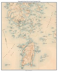 Portland and Islands 1891 Old Topographic Map USGS Custom