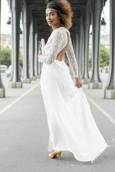 Robe Laure Dos nu Les Mariées Fox mariage robe de mariée cérémonie sur-mesure dentelle de Calais