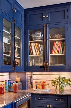 colorful blue inset cabinets.  For more design ideas visit simplybeautifulkitchens.blogspot.ca