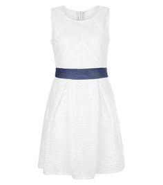 Blue Vanilla White Contrast Mesh Skater Dress  | New Look