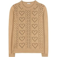 Miu Miu Perforated Cashmere Sweater (14.770.260 IDR) ❤ liked on Polyvore featuring tops, sweaters, beige, miu miu sweater, cashmere sweater, cashmere tops, wool cashmere sweater and beige sweater