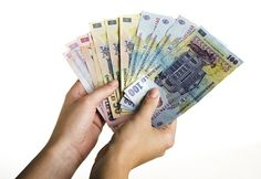 Romanian money with clipping path. Woman hands holding a bunch of Romanian money , Led, Royalty Free Stock Photos, Hands, Style, Dreams, Autos, Swag, Outfits