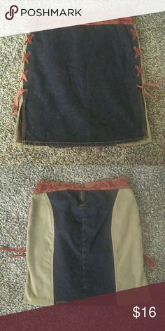 FLASH SALE Boho Pencil Skirt Good condition. Size 9. Velvet tie design down the sides. The front is Jean and the back has a cream/tan design color. Unique. refuge Skirts Pencil